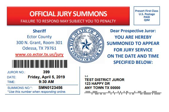 Ector County now using postcards for jury summons